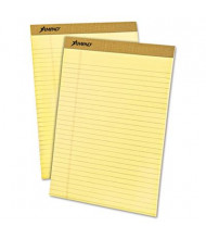 "Ampad 8-1/2"" x 11-3/4"" 50-Sheet 12-Pack Legal Rule Perforated Pads, Canary Paper"
