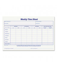 "TOPS 8-1/2"" x 5-1/2"" 2-Pack Weekly Time Sheet Form, 100-Forms"