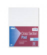 "TOPS 8-1/2"" X 11"" 50-Sheet 5 Sq. Quadrille Rule Cross Section Pad"