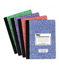 """TOPS 7-1/2"""" X 9-3/4"""" 100-Sheet Wide Rule Composition Book, Assorted Marble Cover"""
