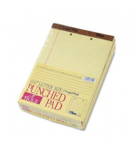 "TOPS 8-1/2"" X 11-3/4"" 50-Sheet 12-Pack 2-Hole Punched Legal Rule Perforated Pads, Canary Paper"