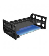 Universal Two-Tier Recycled Side-Load Desk Legal Tray, Black