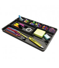 Universal 9-Section Recycled Plastic Drawer Organizer, Black