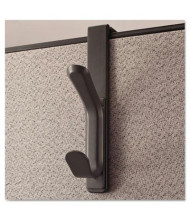 Universal One 2-Garment Recycled Cubicle Plastic Coat Hook, Charcoal