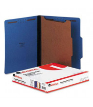 Universal 4-Section Letter 25-Point Pressboard Classification Folders, Cobalt Blue, 10/Box