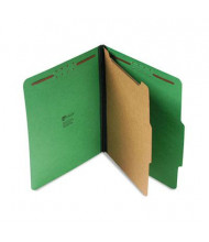Universal 4-Section Letter 25-Point Pressboard Classification Folders, Emerald Green, 10/Box