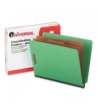 Universal 6-Section Letter 25-Point Pressboard Classification Folders, Green, 10/Box