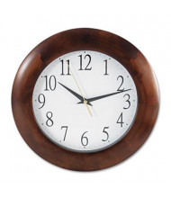 "Universal One 12.8"" Round Wood Wall Clock, Cherry"