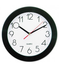 "Universal 9.8"" Round Wall Clock, Black"