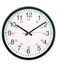 "Universal 12.5"" Round 24-Hour Wall Clock, Black"