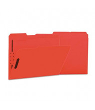 Universal One 1/3 Cut Tab 2-Fastener Letter File Folder, Red, 50/Box