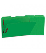 Universal One 1/3 Cut Tab 2-Fastener Legal File Folder, Green, 50/Box