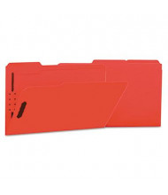 Universal One 1/3 Cut Tab 2-Fastener Legal File Folder, Red, 50/Box