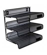 Universal One Three-Tier Mesh Desk Shelf Letter Tray, Black