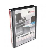 "Universal 1"" Capacity 8-1/2"" x 11"" Round Ring Economy View Binder, Black, 12/Carton"