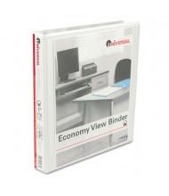 """Universal 1"""" Capacity 8-1/2"""" x 11"""" Round Ring Economy View Binder, White, 12/Carton"""