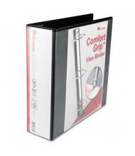 "Universal One 3"" Capacity 8-1/2"" x 11"" Straight Ring Comfort Grip Deluxe View Binder, Black"