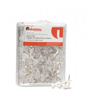 "Universal 1/4"" Head Plastic Clear Push Pins, 100/Pack"