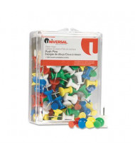 "Universal 1/4"" Head Rainbow Colored Push Pins, 100/Pack"
