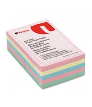 "Universal One 4"" X 6"", 5 100-Sheet Pads, Lined Pastel Sticky Notes"