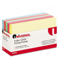 "Universal 3"" x 5"", 100-Cards, Assorted Colors Recycled Index Cards"