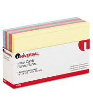 "Universal 5"" x 8"", 100-Cards, Assorted Colors Recycled Index Cards"