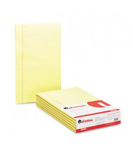 "Universal 8-1/2"" X 14"" 50-Sheet 12-Pack Legal Rule Glue Top Notepads, Canary Paper"