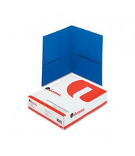 "Universal 8-1/2"" x 11"" Two-Pocket Folders, Blue Textured Covers, 25/Box"