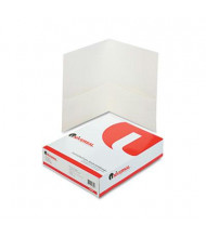 "Universal 8-1/2"" x 11"" Two-Pocket Folders, WhiteTextured Covers, 25/Box"