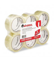 "Universal One 2"" x 55 yds Clear Box Sealing Tape, 3"" Core, 6-Pack"