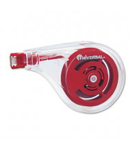 """Universal One 1/5"""" x 393"""" Sideways Application Correction Tape, White, 6-Pack"""