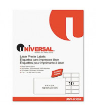 "Universal 2"" x 4"" Laser Printer Labels, White, 2500/Box"