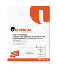 "Universal 2"" x 4"" Inkjet Printer Labels, White, 250/Pack"