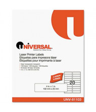 """Universal One 4"""" x 1"""" Laser Printer Labels, Clear, 1000/Box"""