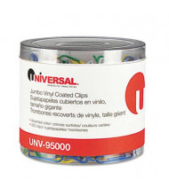 Universal One Jumbo Vinyl Coated Wire Paper Clips, Assorted Colors, 250/Pack