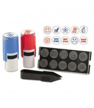 "Stamp-Ever 10-in-1 Self-Inking Stamp, 5/8"", Red/Blue Ink"