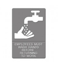 "Headline 6"" W x 9"" H Employees Must Wash Hands ADA Sign"