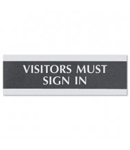 "Headline Century 9"" W x 3"" H ""Visitors Must Sign In"" Office Sign"