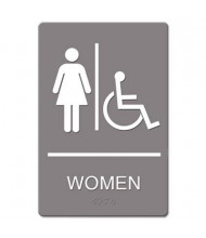 "Headline 6"" W x 9"" H ADA, Women Restroom/Wheelchair Accessible Sign"