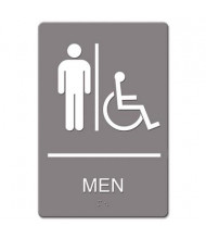 "Headline 6"" W x 9"" H Men Restroom/Wheelchair Accessible ADA Sign"