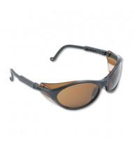 Uvex Bandit Wraparound Safety Glasses, Black Nylon Frame with Espresso Lens