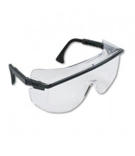 Uvex Astro OTG 3001 Wraparound Safety Glasses, Black Plastic Frame with Clear Lens