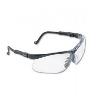 Uvex Genesis Wraparound Safety Glasses, Black Plastic Frame with Clear Lens