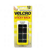 "Velcro 7/8"" Sticky-Back Hook & Loop Square Fasteners on Strips, Black, 12 Sets/Pack"