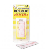 "Velcro 7/8"" Sticky-Back Hook & Loop Square Fasteners on Strips, White, 12 Sets/Pack"