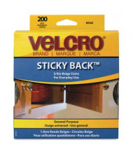 "Velcro 3/4"" Diameter Sticky-Back Hook & Loop Dot Fasteners, Beige, 200/Roll"