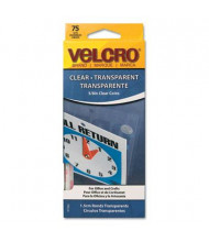 "Velcro 5/8"" Diameter Sticky-Back Hook & Loop Fasteners, Clear, 75/Pack"