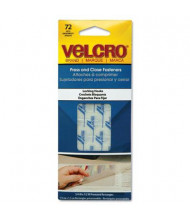 "Velcro 1/2"" x 3/4"" Press & Close Hook to Hook Fasteners, Clear, 72/Pack"
