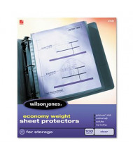 "Wilson Jones 8-1/2"" x 11"" Top-Load Economy Weight Non-Glare Sheet Protectors, 100/Box"