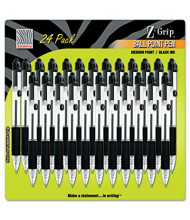 Zebra Z-Grip 1.0 mm Medium Retractable Ballpoint Pen, Black, 24-Pack